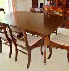 vintage duncan phyfe style dining table with six roseback chairs