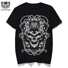 rocksir 3d print skull designs creative t shirt s clothing