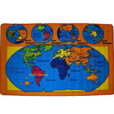 Kids World Map Kids Carpet World Map Area Rug 5 U0027 X 7 U0027 U2013 Empire Home Fashion