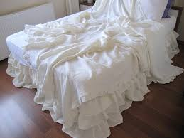 Summer Coverlet King Shabby Chic Ruffle Bedding Solid White Ivory Pink Gray Linen