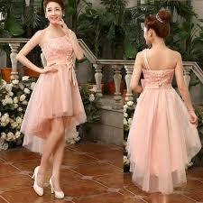 2017 new fashion one shoulder high low bridesmaid dress with bow