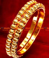 2 8 size traditional gold beaded south indian gold plated bangle