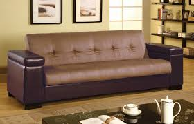 two tone leather sofa with storage under armrest and tufted