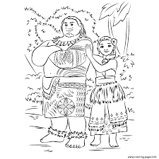 moana and maui forest coloring pages printable