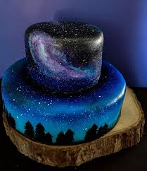 themed cakes i was asked to make a galaxy themed cake and cupcakes for a