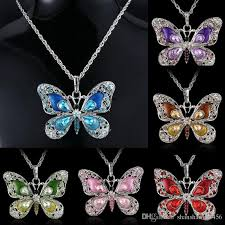 butterfly long chain necklace images Wholesale 2018 fashion women butterfly pendant long chain necklace jpg
