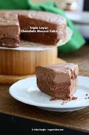 triple layer chocolate mousse cake vegan gluten free recipe no