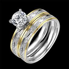 stainless steel wedding ring sets aliexpress buy junxin fashion silver gold colors