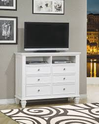 Bedroom Set With Media Chest Dallas Designer Furniture Sandy Beach Bedroom Set In White