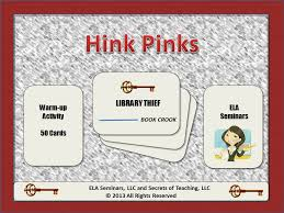 hink pink vocabulary 50 warm up activity cards use hink