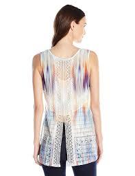 oneworld women u0027s sleeveless textured knit lace trim tank at amazon