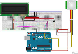 arduino pir motion detector with 16x2 lcd 3 steps