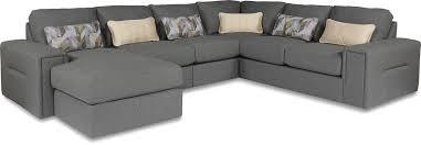 five piece modern sectional sofa with architectural lines and laf