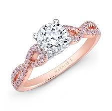 pink gold engagement rings 18k white and gold twisted shank pink diamond