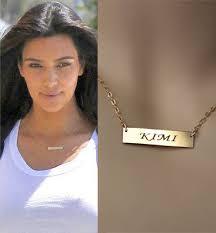 Gold Name Bar Necklace 24k Gold Plated Bar Necklace Kim Kardashian By Dazlingjewels