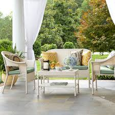 White Wicker Patio Furniture - jaclyn smith reece 4pc white wicker seating with green cushions