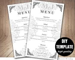 silver menu template diy wedding menu card 4x7 silver wedding menu