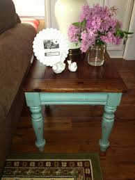 stained table top painted legs blue hydrangea furniture wood top blue legs