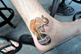 crazy sweet baby elephant tattoo design make on thigh