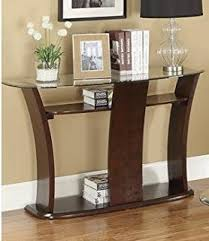 amazon com sofa table w glass top in dark cherry brown by