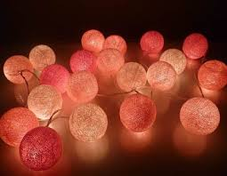 pink tone cotton string lights
