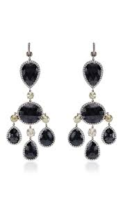 black chandelier earrings one of a black diamond chandelier earrings by runsdorf