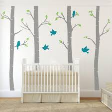 great ideas in baby room wall decals furnitures designs image of nursery birch tree wall decals with birds wallboss wall stickers regarding baby room