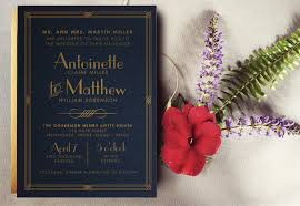gold and midnight blue art deco wedding invitation