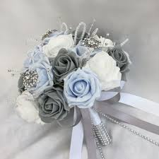 artificial wedding bouquets brides posy bouquet baby blue white grey roses artificial