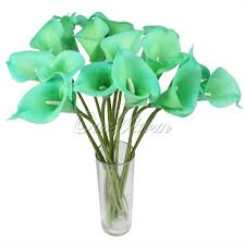 10x mint green artificial calla lily latex real touch flower