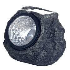 outdoor lawn lights pure garden solar powered led grey rock landscaping light 4 pack
