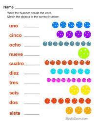 spanish numbers printable worksheet ziggity zoom