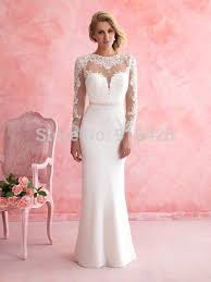 wedding reception dresses new fashion high neck sheath sleeves bridal gown wedding