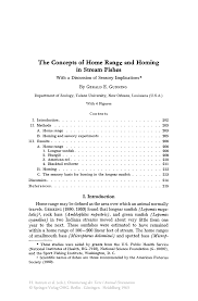 the concepts of home range and homing in stream fishes springer