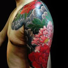 flowers with clouds japanese half sleeve and chest tattoos for