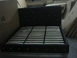 Black Leather Platform Bed Black Tufted Design Leather Look Queen Size Upholstered Platform