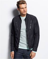 moto jacket michael kors nylon moto jacket in black for men lyst