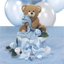 teddy baby shower centerpiece cake with table