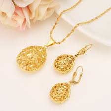 bridal jewelry necklace earrings images Ethiopian set women jewelry pendant necklace earring gold color jpg