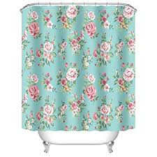 Custom Bathroom Shower Curtains Uphome Pink Flower With Leaves Customized