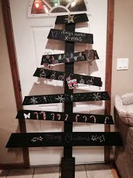 wooden christmas tree stocking holder with chalkboard paint diy