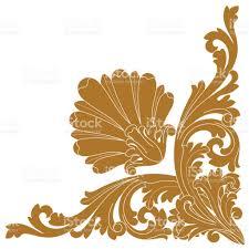 golden vintage baroque ornament corner retro pattern antique style