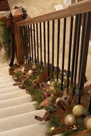 Banister Garland Ideas 83 Best Christmas Stairs Decorating Images On Pinterest