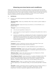Cleaning Service Agreement Template Simple Cleaning Terms And Conditions Docular