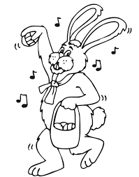 big easter bunny easter bunny coloring page an singing easter bunny with his basket