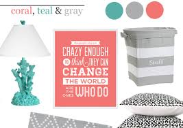 coral teal and gray in the nursery project nursery