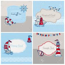 set of nautical sea cards for scrapbook and design royalty free