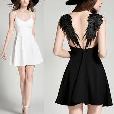 2018 summer mini dress s plunge v neck wings open