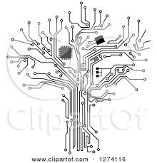 clipart of a grayscale computer chip and circuit tree 2 royalty