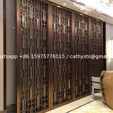 bronze color metal room divider screen partition for hotel room